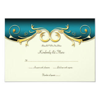 3.5x5 Elegant Teal Gold RSVP Personalized Announcement