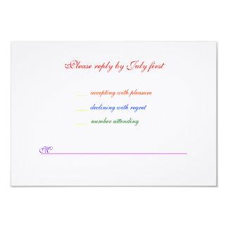 3.5x5 Gay Wedding Rainbow LGBT Pride Linen RSVP 3.5x5 Paper Invitation Card