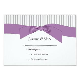 3.5x5 Gray White Stripes Purple Ribbon  RSVP Card
