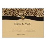 3.5x5 Leopard Print FAUX Ribbon Jewel RSVP Personalized Invitation
