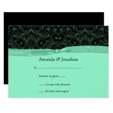 Bride Themed 3.5x5 Mint Green Scrolls & Ribbon on Black RSVP Card