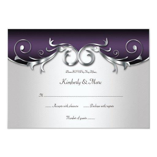 3.5x5 Ornate Purple Silver Black RSVP Card