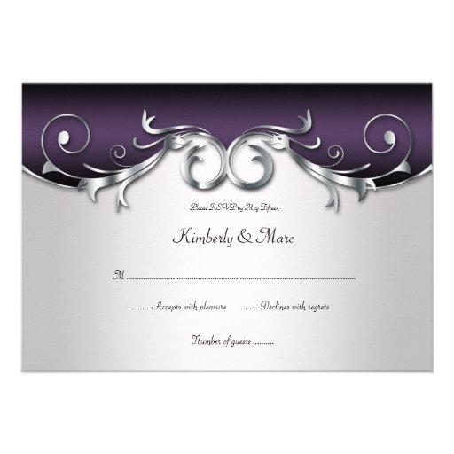 3.5x5 Ornate Purple Silver Black RSVP Custom Invitation