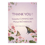 """3.5x5"""" Pink Floral Flowers Wedding Thank You Card"""