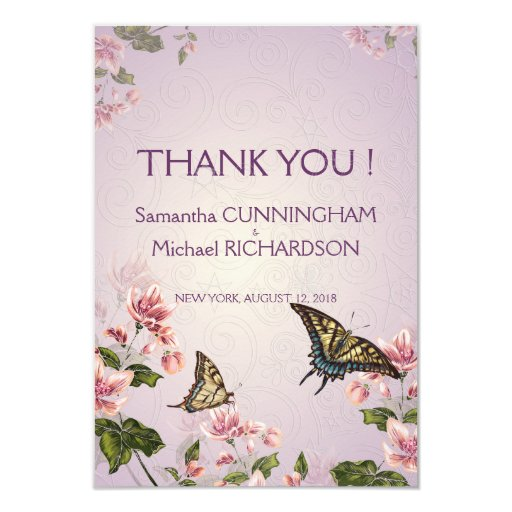 """3.5x5"""" Pink Floral Flowers Wedding Thank You Card Invites"""
