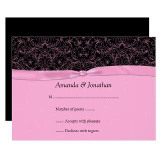 Reminder invitations announcements zazzle 35x5 pink scrolls amp ribbon on black rsvp card stopboris Choice Image