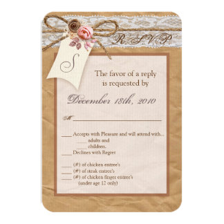 3.5x5 R.S.V.P. Card Kraft Paper Lace Twine Bow Ros