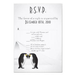 3.5x5 R.S.V.P. Card Penguins Mate for Life Gray