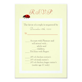 """3.5x5 R.S.V.P. Card Yellow and Lady Bug 3.5"""" X 5"""" Invitation Card"""