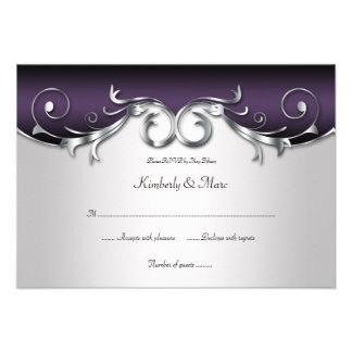 3.5x5 RSVP negro de plata púrpura adornado Anuncios Personalizados