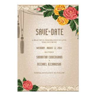 "3.5x5"" Vintage Damask Floral Wedding Save The Date Personalized Invites"