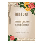 """3.5x5"""" Vintage Damask Floral Wedding Thank You Car Personalized Invite"""