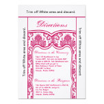 "3.5x6 Directions Card Fusia Pink Damask 5"" X 7"" Invitation Card"
