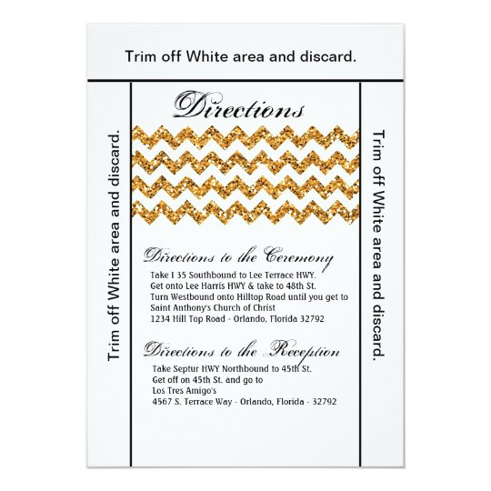 3.5x6 Directions Card Gold Glitter Chevron Stripe