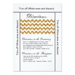 """3.5x6 Directions Card Gold Glitter Chevron Stripe 5"""" X 7"""" Invitation Card"""
