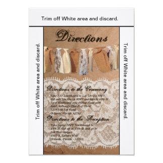 3.5x6 Directions Card Kraft Paper Bag Lace Burlap