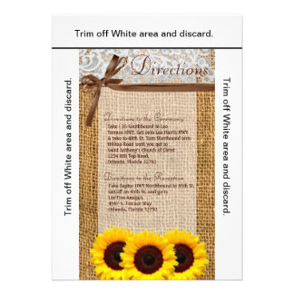 3 5x6 Directions Card Sunflower Lace Burlap Countr Invite