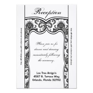3.5x7 Reception Card Black White Damask