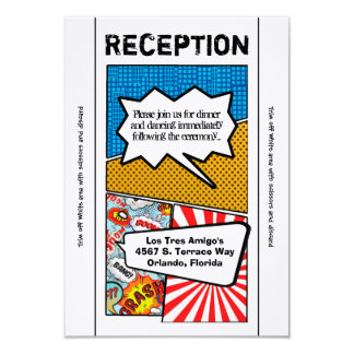 3.5x7 Reception Card Comic Strip Book Pop Art Coup