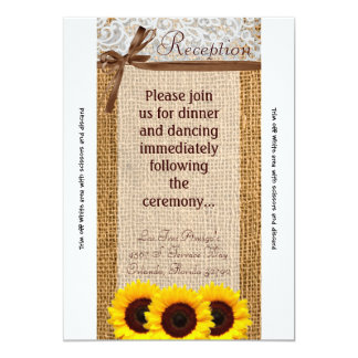 3.5x7 Reception Card Sunflower Lace Burlap Country