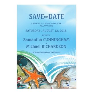 "3.5x 5"" Beach Starfish Couple Wedding Save The Dat Invitation"