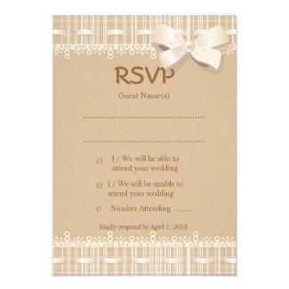 """+3.5x 5"""" Vintage Biege Burlap Lace Wedding RSVP Invite"""