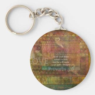 3:6 de los proverbios: Verso inspirado de la bibli Llavero Redondo Tipo Pin