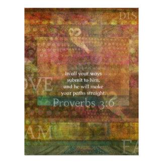 3 6 de los proverbios Verso inspirado de la bibli Membrete Personalizado