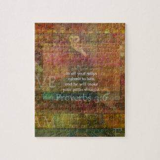 3:6 de los proverbios: Verso inspirado de la bibli Rompecabezas Con Fotos