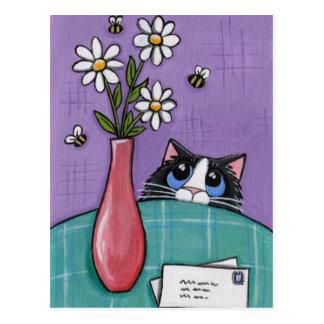 3 abejas, 3 flores, 2 letras - postal del gato