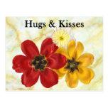 3 abrazos y besos tarjeta postal