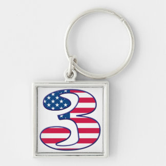 3 Age USA Silver-Colored Square Keychain
