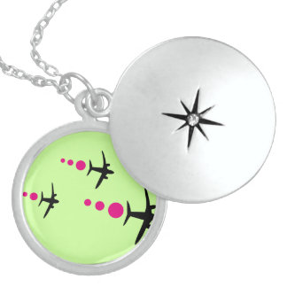 3 Aircrafts Round Locket Necklace