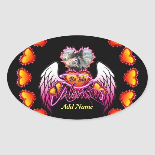 3 alas del ángel de los corazones sean mi muestra pegatinas de óval personalizadas