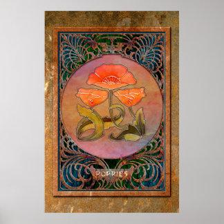 3 amapolas de Nouveau del arte en un marco cobrizo Póster