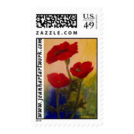 3 amapolas sello postal