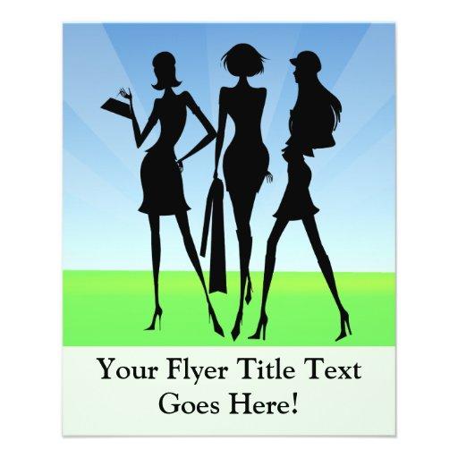 """3 amigos de las mujeres que hacen compras folleto 4.5"""" x 5.6"""""""