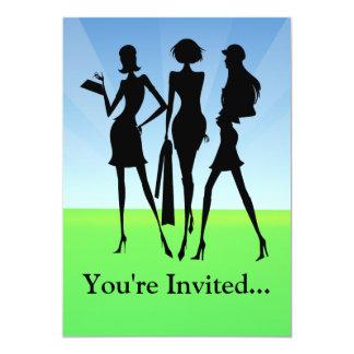 """3 amigos de las mujeres que hacen compras invitación 5"""" x 7"""""""