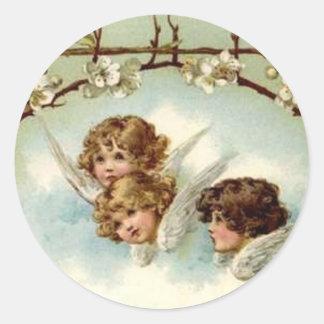 3 ángeles debajo del arco de la flor - pegatina