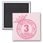 3 años - princesa del cumpleaños - rosa iman de nevera