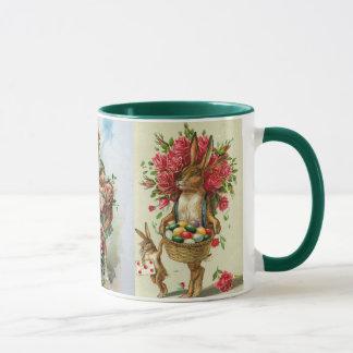 3 Antique Post Card Easter Bunny Roses Mug