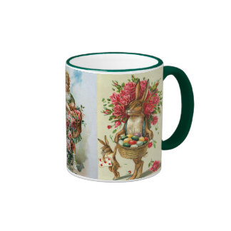 3 Antique Post Card Easter Bunny Roses Ringer Mug