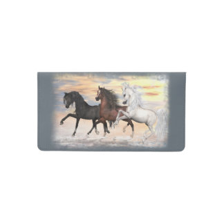 3 Arabian Horses Checkbook Cover - Pick Your Color