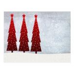 3 árboles de navidad rojos tarjetas postales