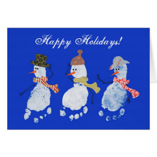 3 Baby footprints Snowmen Happy Holidays! Greeting Card