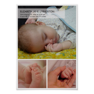 3 baby photo modern montage vertical wall hanging poster