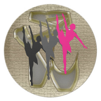 3 ballerinas gold toe shoes background round dinner plates