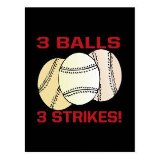 3 Balls 3 Strikes Postcard
