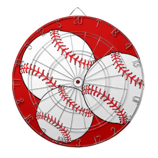 3 Baseballs Sports Ball Custom Background Color Dartboard