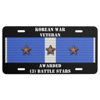 3 BATTLE STARS KOREAN WAR VETERAN LICENSE PLATE